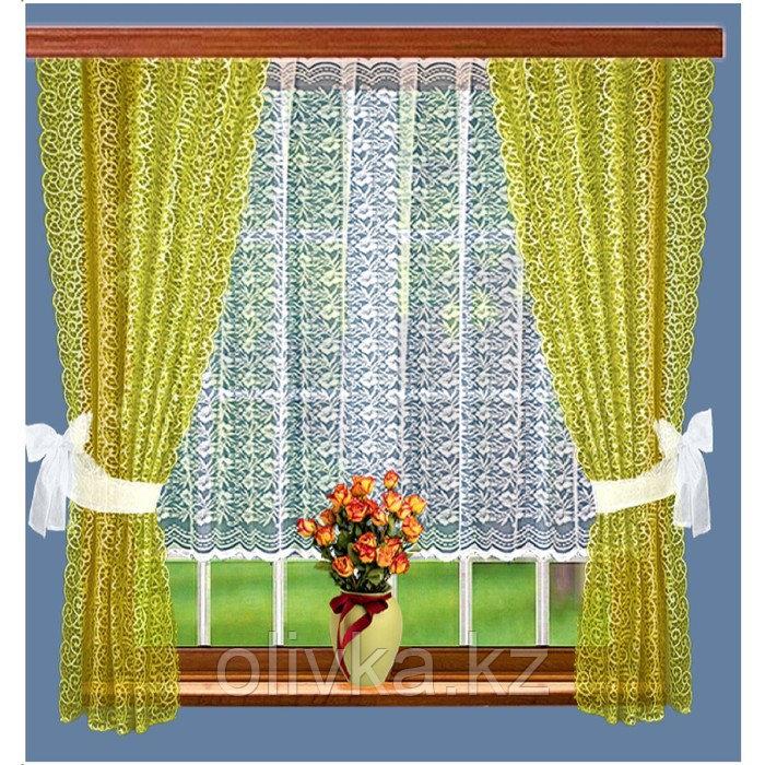 Комплект штор, размер 165 х 160 см - 2 шт, 200 х 100 см, цвет оливковый