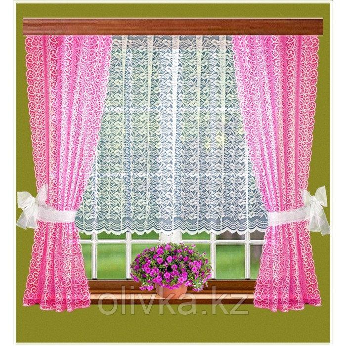 Комплект штор, размер 165 х 160 см - 2 шт, 200 х 100 см, цвет розовый