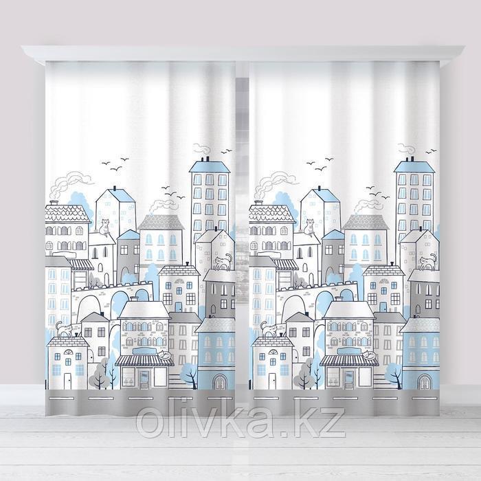 "Комплект штор ""Этель"" Sweet home blue 145*260 см-2 шт, 100% п/э, 140 г/м2"