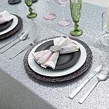 Скатерть с пайетками, цв.серебро, 200*200 см, фото 4