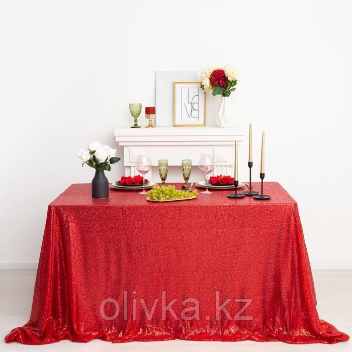 Скатерть с пайетками, цв.красный, 200*200 см