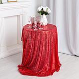 Скатерть с пайетками, цв.красный, 200*200 см, фото 2
