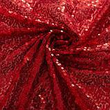 Скатерть с пайетками, цв.красный, 200*200 см, фото 3