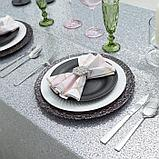 Скатерть с пайетками, цв.серебро, 280*280 см, фото 4