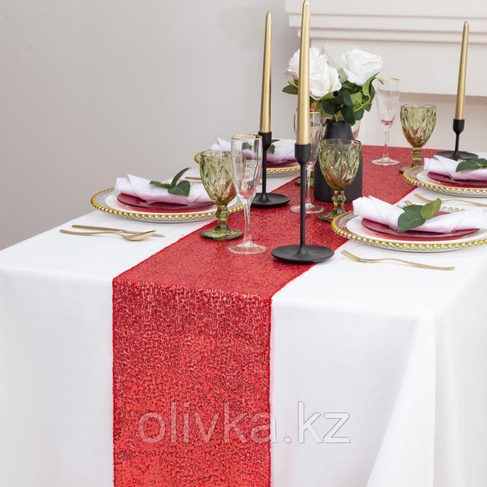 Дорожка с пайетками на стол, цв.красный, 30*300 см