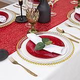 Дорожка с пайетками на стол, цв.красный, 30*300 см, фото 3