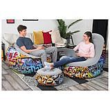 Кресло + пуф надувные Graffiti Comfort Cruiser, 121 x 100 x 86 см, 54 х 54 х 26 см, 75076 Bestway, фото 2