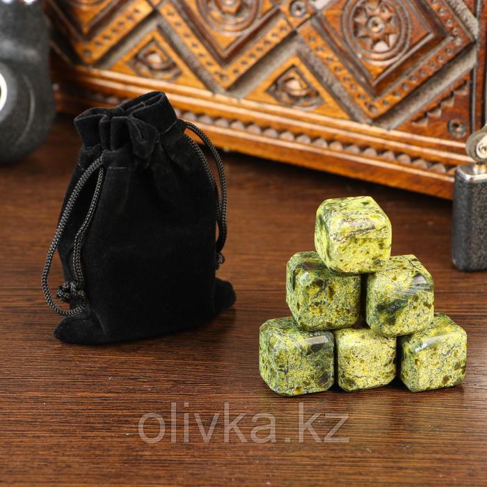 Набор камней для виски, 6 шт, 2х2х2 см, змеевик