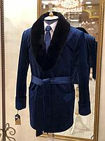 """Пиджак кабинетный """"Тулпар"""" с черной норкой, синий"""