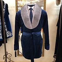 """Пиджак кабинетный """"Тулпар"""" с голубой норкой, темно-синий"""