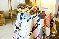 Скатерть 164*132 сине-розовые цветы