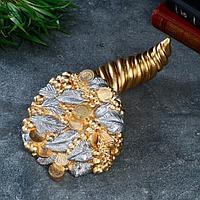 "Фигура ""Рог изобилия"", гипс, золото-хром, 9х15х27см"