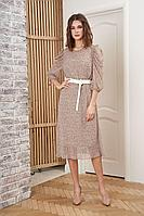 Женское осеннее шифоновое бежевое платье Fantazia Mod 3912 48р.