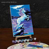Картина по номерам на холсте с подрамником «Единорог при свете луны», 30х20 см