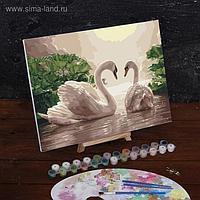 Картина по номерам на холсте с подрамником «Лебеди на тихом пруду», 40х30 см