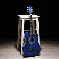 Гитара акустическая синяя, 6-ти струнная 97см