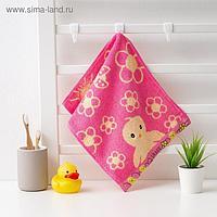 """Полотенце махровое Крошка Я """"Птенчик"""" 25*50 см, цв.розовый, 100% хлопок, 400 гр/м2"""