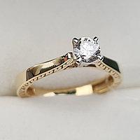 Золотое кольцо с бриллиантом 0.40Сt I1/I VG-Cut, фото 1