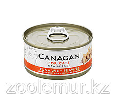 CANAGAN Полнорационный консервированный корм для кошек ТУНЕЦ с КРЕВЕТКАМИ 75г