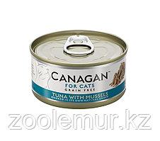 CANAGAN Полнорационный консервированный корм для кошек ТУНЕЦ с МИДИЯМИ 75г