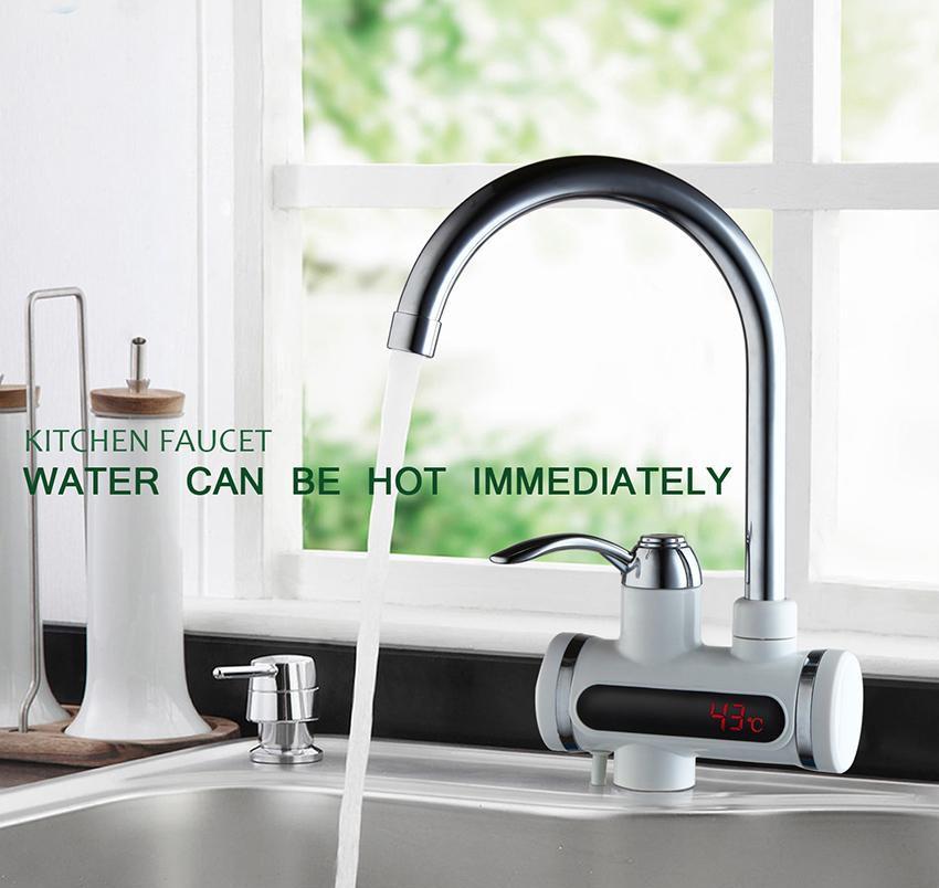 Проточный электрический водонагреватель c дисплеем Instant Electric Heating Water Faucet - фото 1