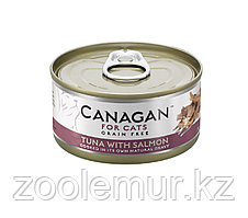 CANAGAN Полнорационный консервированный корм для кошек ТУНЕЦ с ЛОСОСЕМ 75г