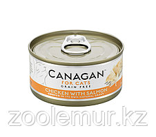 CANAGAN Полнорационный консервированный корм для кошек ЦЫПЛЕНОК с ЛОСОСЕМ 75г