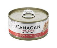 CANAGAN Полнорационный консервированный корм для кошек ЦЫПЛЕНОК с КРЕВЕТКАМИ 75г