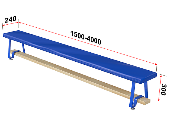 Скамья гимнастическая мягкая, ножки металлические 3,5 м, фото 2