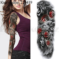 Временное тату на руку лев девушка розы 48х18 см TQB-063
