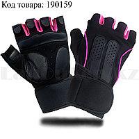 Перчатки для фитнеса и тренажеров турника противоскользящие (без пальцев) черно-розовые