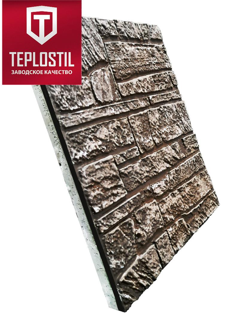 Термопанель облицовочная завода TEPLOSTIL. Фактура Горный Камень с утеплителем 50 мм