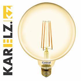 Лампа LED GLDEN-G95S-10W/230V/E27/2К,филамент,шар,прозрачная,(General)(5/20),655308