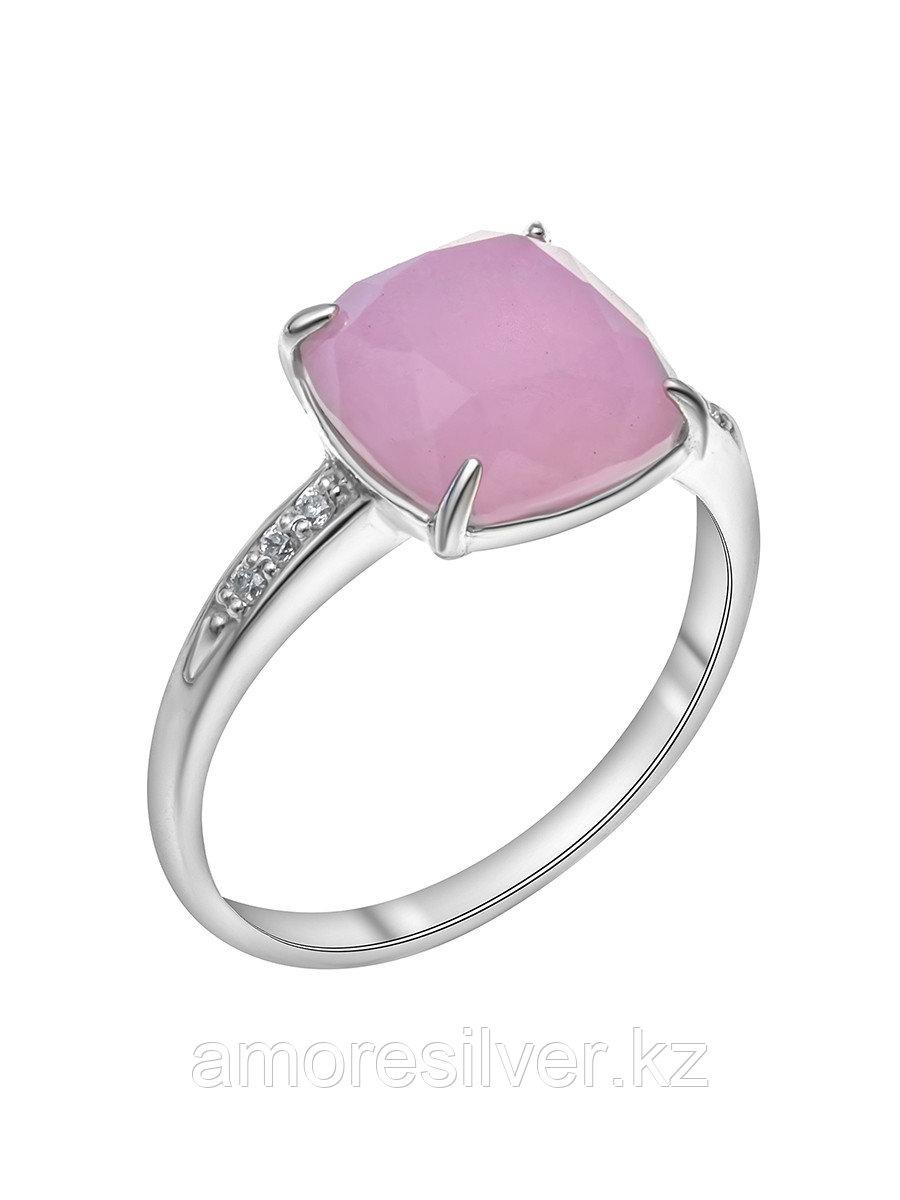Кольцо Красная Пресня серебро с родием, кварц розовый фианит, , квадрат 23310416ДК размеры - 18 18,5