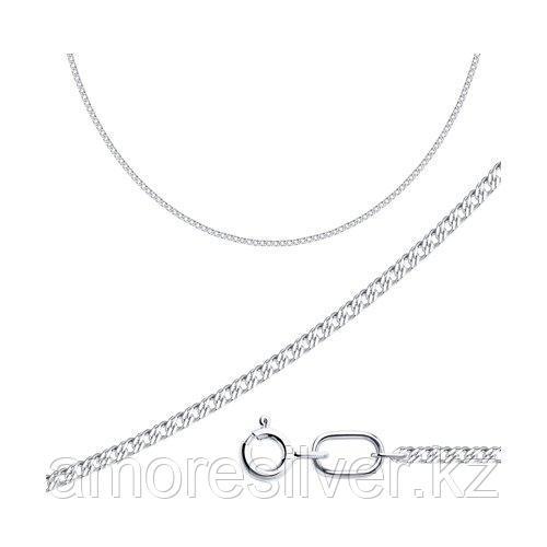 Цепь SOKOLOV серебро с родием, без вставок, ромб двойной 968040302 размеры - 40 45 50 55 60