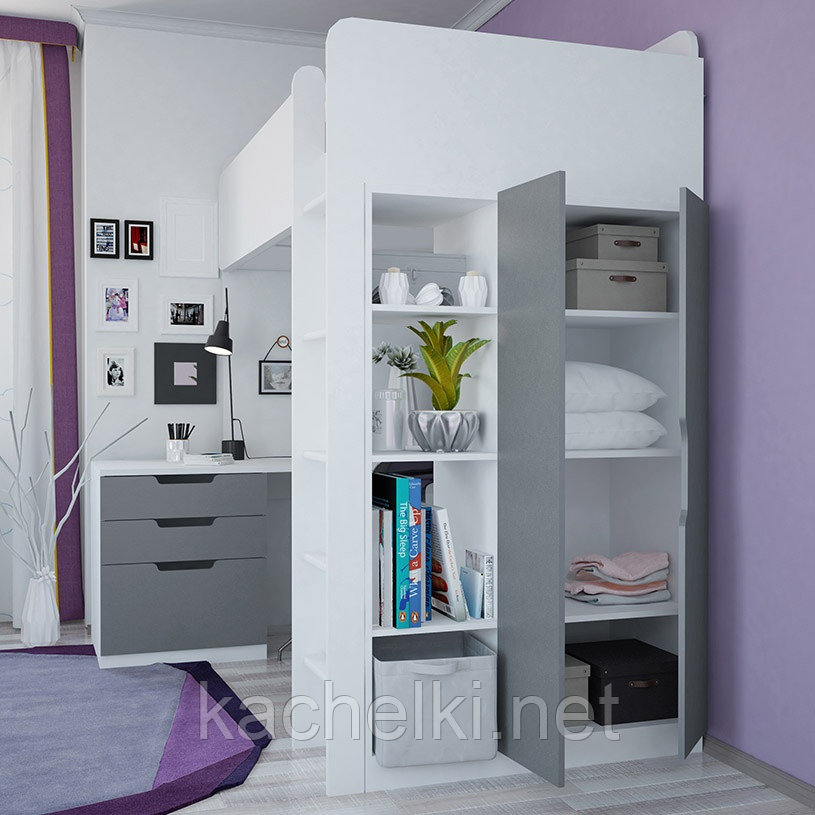 Кровать-чердак Polini kids Simple с письменным столом и шкафом