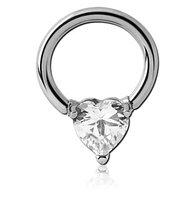 Кольцо с кристаллом (в виде: сердца, ромба, круга)