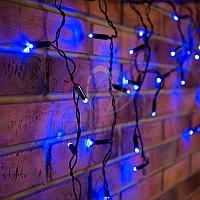"""Уличная световая гирлянда """"Бахрома"""" (""""Айсикл"""") - 4,8 х 0,6 метра, 176 лампочек, синий цвет, светит постоянно"""