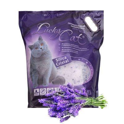С ароматом лаванды, 3,8л. силикагелевый впитывающий наполнитель Lucky Cat