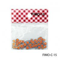 FIMO-C-15Фигурки FIMO в форме оранжевых цветочков с голубыми лепестками.