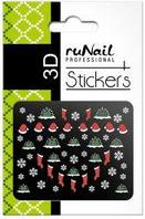 Наклейки для дизайна ногтей 3D (новогодние, цветные) №2049