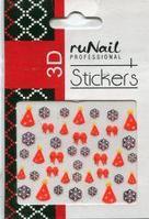 Наклейки для дизайна ногтей 3D (новогодние, цветные) №2065