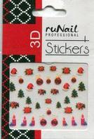 Наклейки для дизайна ногтей 3D (новогодние, цветные) №2059