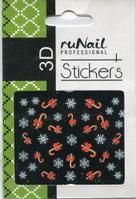 Наклейки для дизайна ногтей 3D (новогодние, цветные) №2057