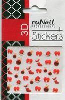 Наклейки для дизайна ногтей 3D (новогодние, цветные) №2056