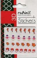 Наклейки для дизайна ногтей 3D (новогодние, цветные) №2052