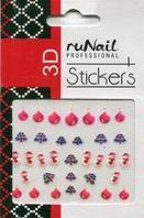 Наклейки для дизайна ногтей 3D (новогодние, цветные) №2050