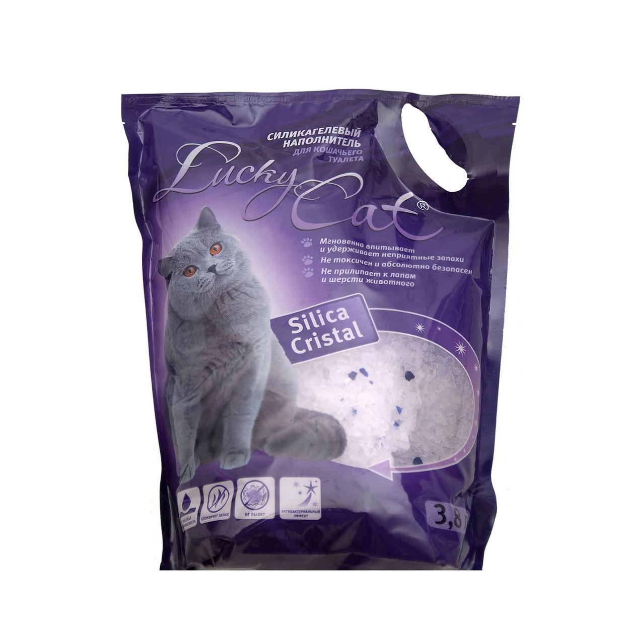 Без запаха, 3,8л. силикагелевый впитывающий наполнитель Lucky Cat