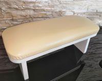 Подставка для рук Белая со светло-бежевой подушкой