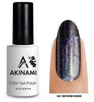 Топ для гель-лака AKINAMI Glitter Top №1, 9мл. (прозрачный с фиолетовыми и золотистыми блестками)